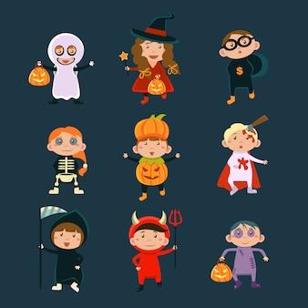 ハロウィーンの衣装イラストを着た子供たち