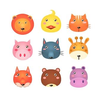 Симпатичный набор иллюстрации мультфильм животных голов