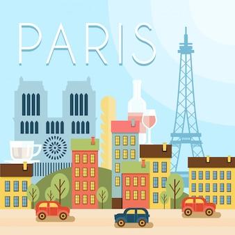 Добро пожаловать во францию. достопримечательности парижа, пейзаж эйфелевой башни, воздушный шар.