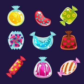 Набор красочных глянцевых конфет