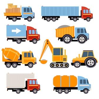トラックとトラクターセットフラットスタイル