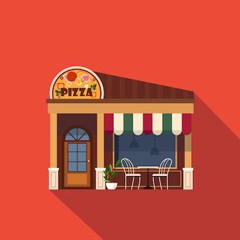 Фасад ресторанов и магазинов, детальная квартира на витрине