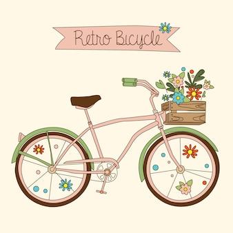 レトロな自転車。図。