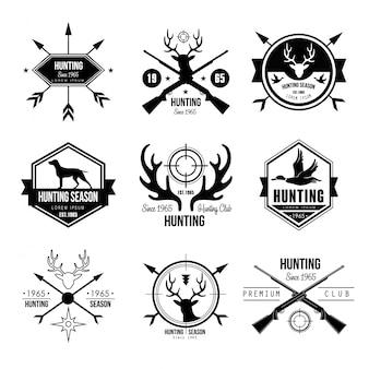 バッジラベルロゴデザイン要素の狩猟