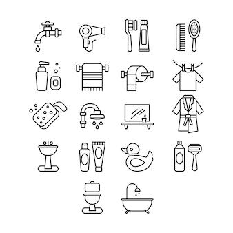 Набор иконок гигиены и ванной. линейный с