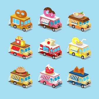 Фургоны с едой в стиле изометрические