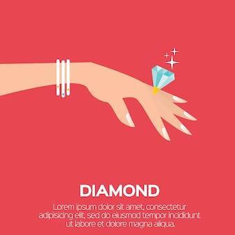Обручальное кольцо. большой сияющий бриллиант. изящная женская рука. свадебная концепция.