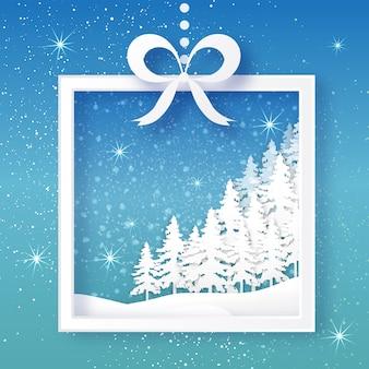Оригами рождественская открытка с подарочной коробке, елки