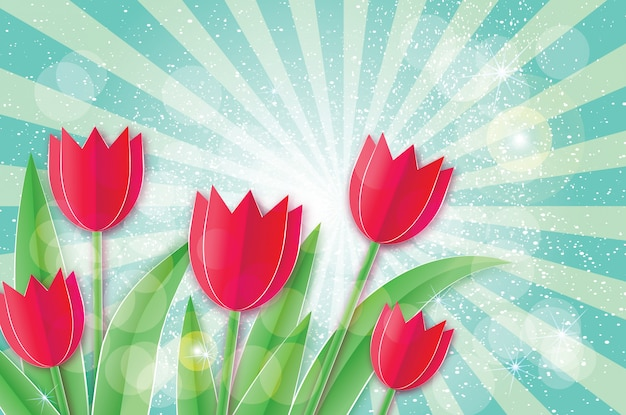 赤いチューリップ。ペーパーカットの花。