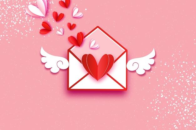 折り紙の赤、白の心。紙のカットスタイルの翼を持つバレンタインポストカード。
