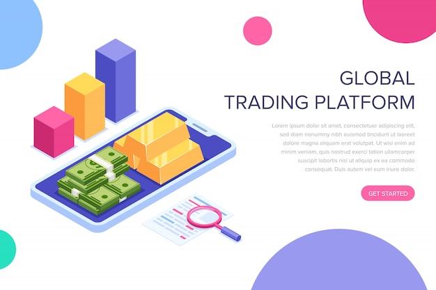 グローバル取引プラットフォームのランディングページ