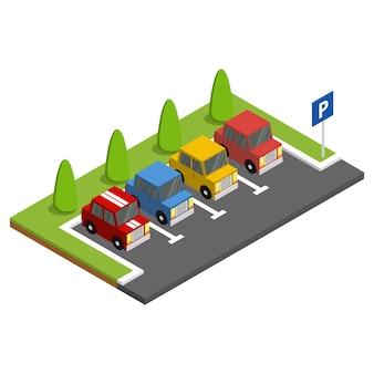 緑の木々の横に駐車した車で駐車。アイソメ図。