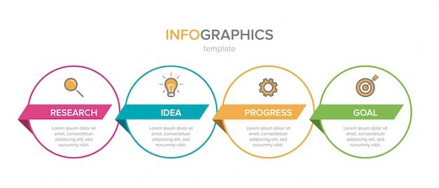 Инфографики дизайн с иконками и четыре варианта или шаги. тонкая линия вектор. инфографика бизнес-концепция. может использоваться для информационной графики, блок-схем, презентаций, веб-сайтов, баннеров, печатных материалов.