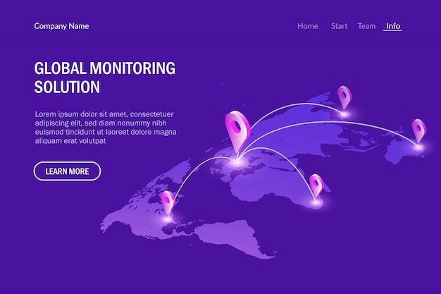 グローバル監視システムと通信。仮想世界地図。