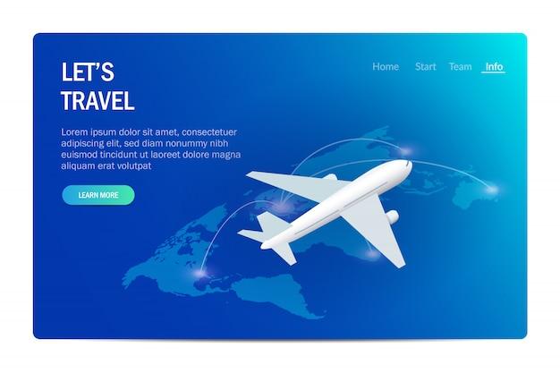 Путешествия или туризм. самолет на фоне карты мира