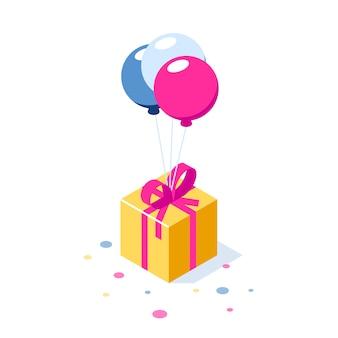 Подарочная коробка с лентой на шариках