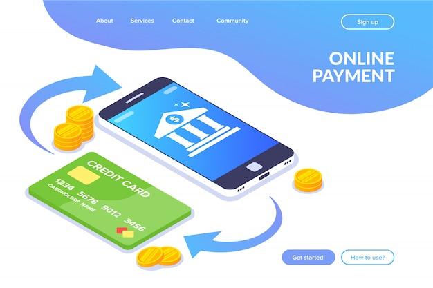 オンライン支払い。電話とカード間のお金の取引。スマートフォン画面の銀行アイコン