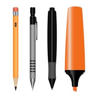 Набор канцелярских принадлежностей и маркеров