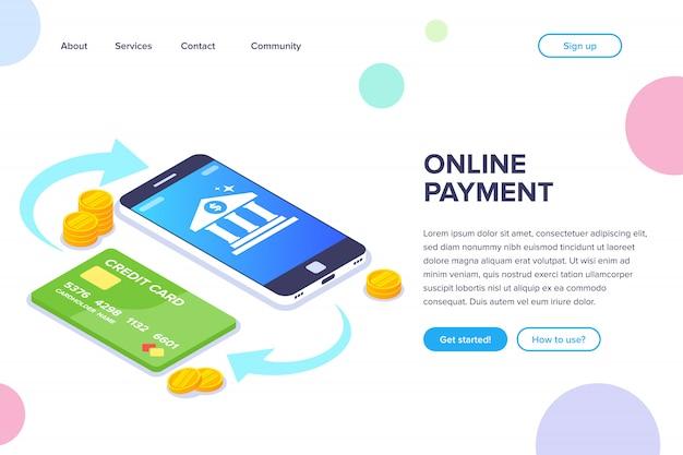 オンライン支払い等尺性概念。電話とカードの間のお金の取引。スマートフォンの画面上の銀行アイコン。フラットランディングページ