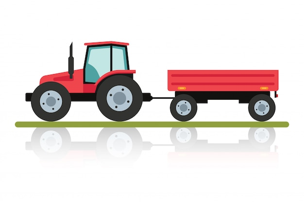 トレーラーが付いている赤いトラクター