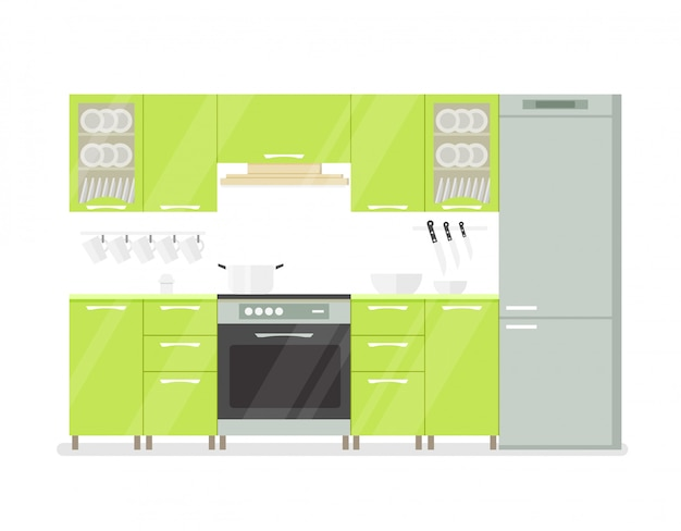 Интерьер кухни комнаты в зеленых тонах