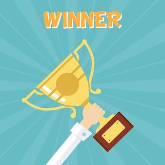 Награда за первое место. вручение золотого кубка за победу.