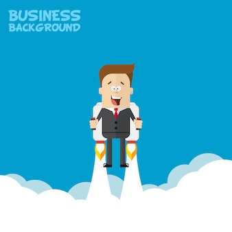 Счастливый бизнесмен или менеджер, летать на реактивные ранцы к своей цели. полет над облаками. иллюстрация запуска.