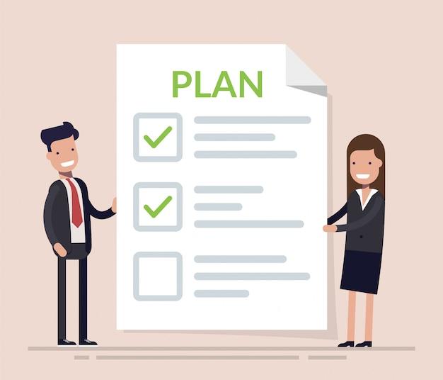 ビジネスの人々、男性と女性が大きなクリップボードとチェックリストに立っています。