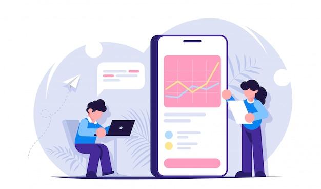 データ分析の概念。男と女はビッグデータを扱います。携帯電話またはラップトップを使用してデータを分析します。