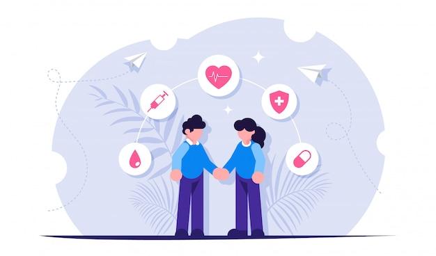 健康保険や医療の概念。人々は医療アイコンを背景に手をつないでいます。
