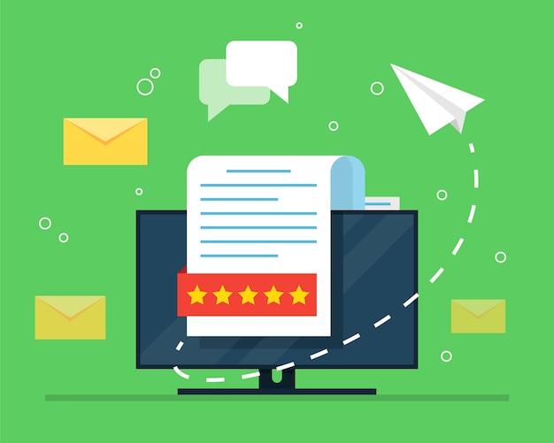 Рекламная рассылка. концепция открытого электронного письма с вложенным документом