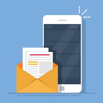 Почтовый клиент на мобильном телефоне. концепция отправки писем со смартфона.