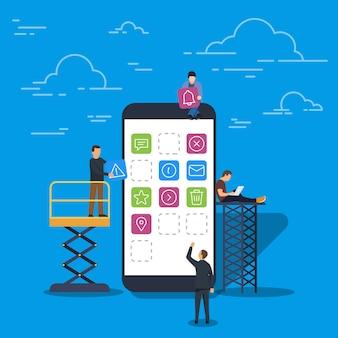 Концепция разработки мобильных приложений и пользовательского интерфейса. молодые мужчины и женщины, использующие ноутбук для командной работы.