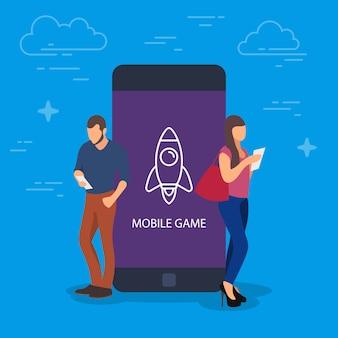 モバイルゲームの概念図。ゲームにデバイスを使用している人々。