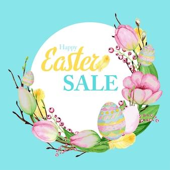 Акварель весна счастливой пасхи венок с надписью продажи.