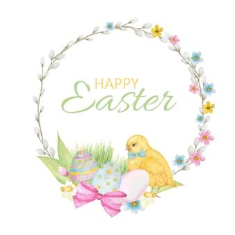 ハッピーイースターの花輪、猫柳の枝、春の花、着色された卵と手描きのラウンドフレーム。