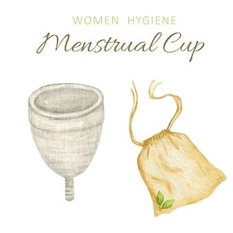 環境に優しいシリコーン洗えるコットンバッグ付き月経カップ。個人的な女性の親密な衛生のための廃棄物ゼロの供給。プラスチックフリーのコンセプト。