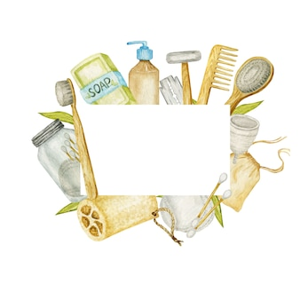 無駄のない浴室付属品フレーム。天然サイザルブラシ、木製コーム、固形石鹸、シャンプーバー、安全かみそり、再利用可能な綿がガラス容器の除去パッドを構成しています。環境に優しい衛生概念