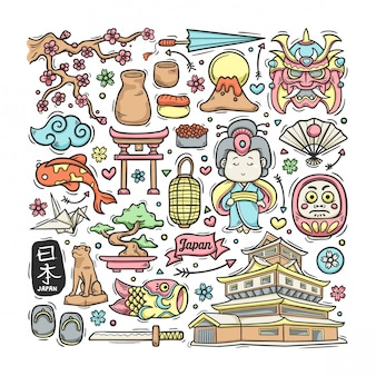 日本手描き落書きカラフル