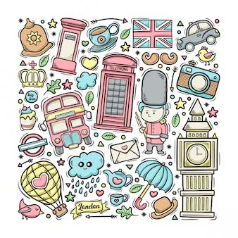 ロンドンイングランド手描き落書きカラフル