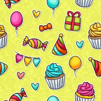カップケーキパーティー落書きカラフルなシームレスパターン