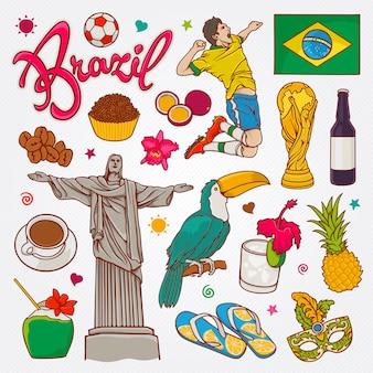 ブラジルの自然と文化のアイコン落書きセットベクトル図