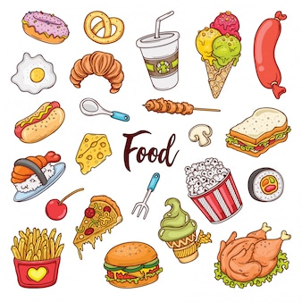 Набор рисованной каракулей цвета еды