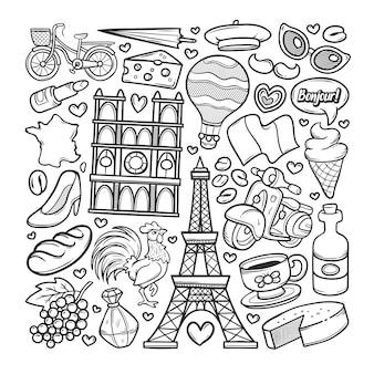 フランスの手描きの落書きのカラーリング