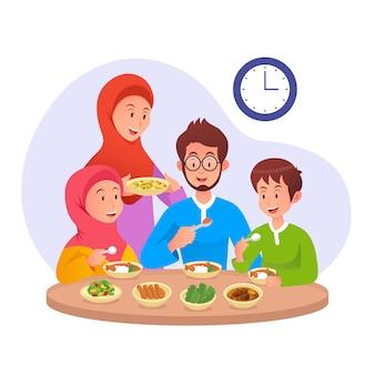 イスラム教徒の家族がサフルを食べるか、断食日のラマダンイラストの前に早朝に食べる