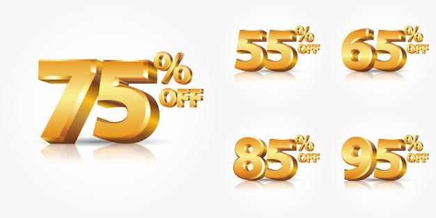 光沢のあるゴールドのコレクション番号割引オフ反射またはプロモーション割引販売広告と白い背景で隔離