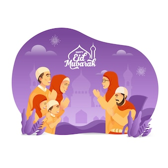 Ид мубарак поздравительных открыток. мусульманское семейство благословляет ид мубарака бабушке и дедушке на белом фоне
