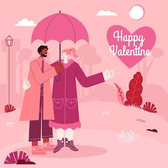 Поздравительная открытка дня святого валентина молодая пара стоя под зонтиком в дождливый день. современный плоский стиль векторные иллюстрации