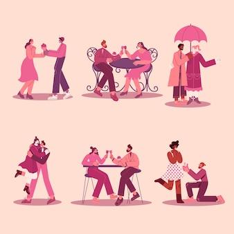 モダンなフラットスタイルのベクトル図と恋にロマンチックなカップルのセット。グリーティングカード、バナー、ポスター、チラシに適しています