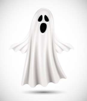 白い背景の上の飛行の幽霊。ハロウィーンの背景、ポスター、バナー、チラシに適しています